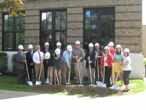 District officials, project team members, students and teachers gather to kick off groundbreaking
