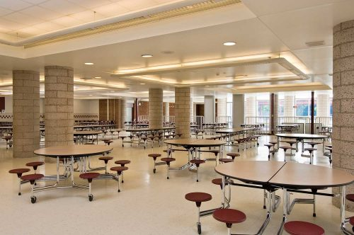 Mosaic architects took advantage of the fact that the cafeteria addition had to be constructed on two levels to create distinct areas for study groups and meetings – without limiting sightlines for supervision.