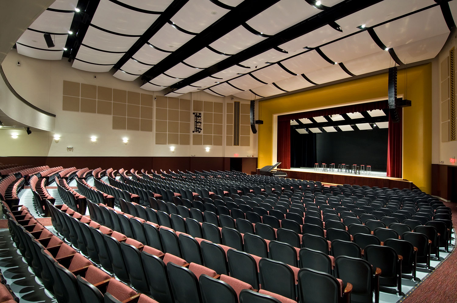 The visually stunning auditorium design delivers the finest listening experience with an electronic acoustical enhancement system and acoustical cloud ceiling system.