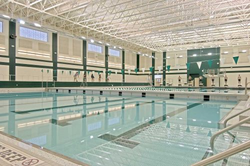 Mosaic designed a pool consisting of eight lanes and a moveable bulkhead to allow three configurations for standard swim and water polo competitions.