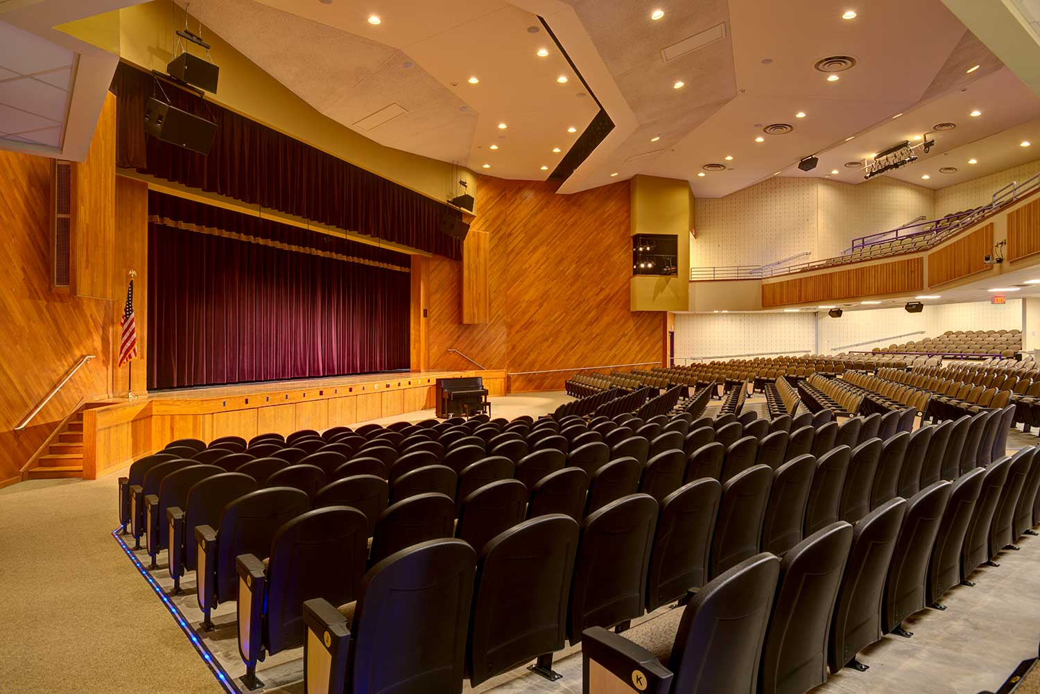 Mosaic's design for the Troy, NY, Middle school music wing and auditorium included an extensive theatrical, lighting and audio-visual installation.