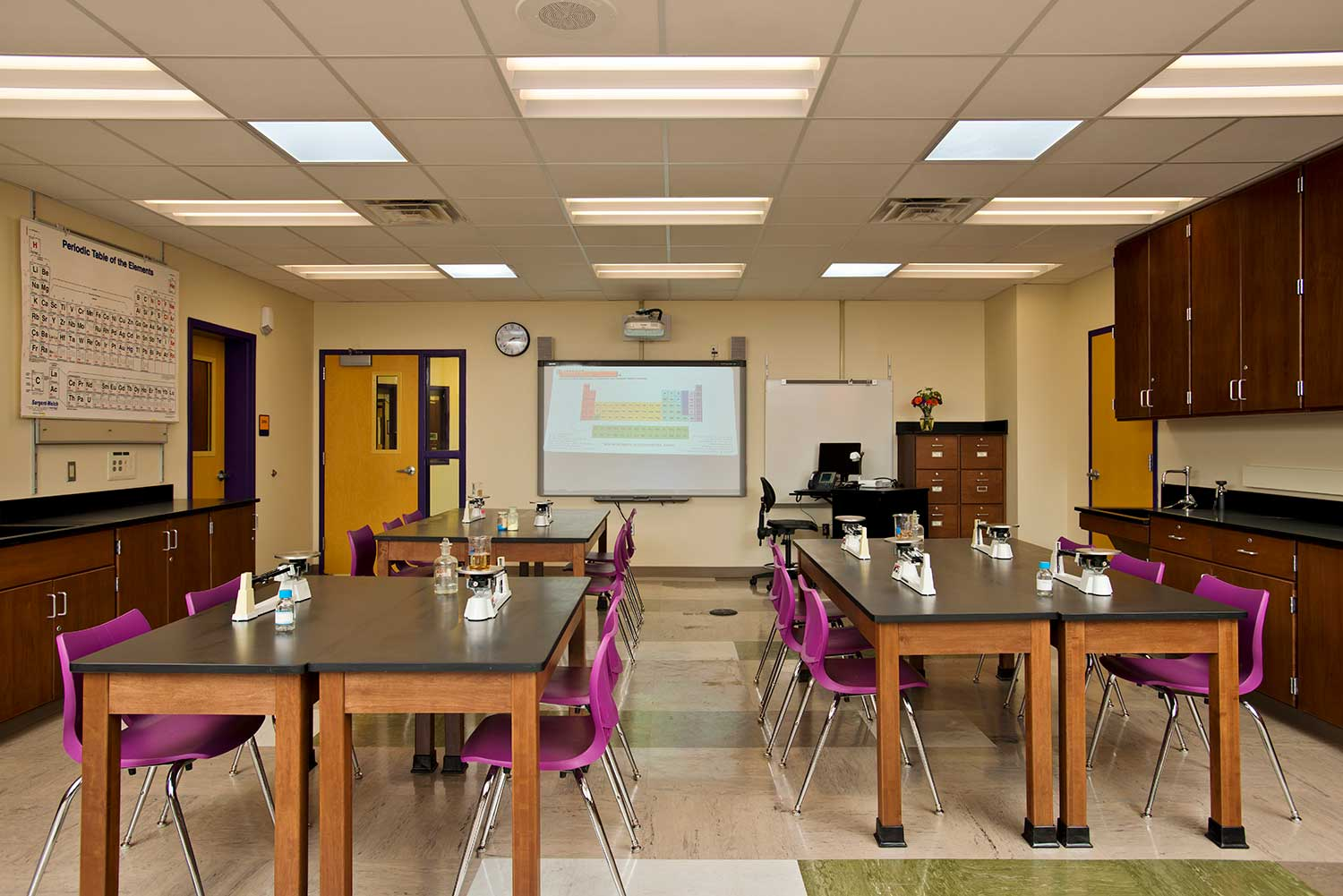 Science labs at the Troy Middle School include the latest technology and flexible design for teaching and experimentation.