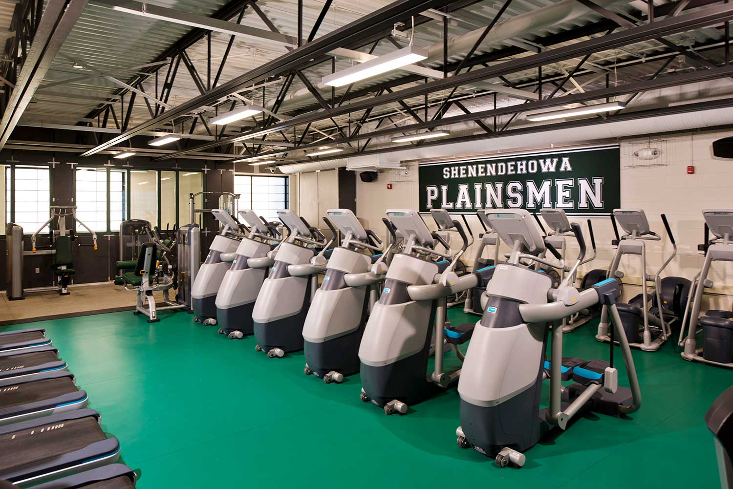 The fitness center Mosaic designed for Shenendehowa is arranged for multi-purpose and community use.