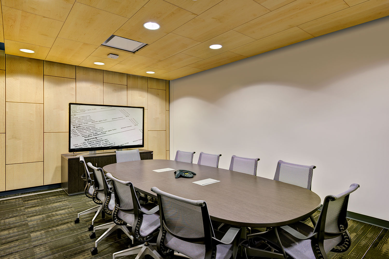 Conference room at Mosaic Associates College Science Center design for Hudson Valley Community College in Troy, New York.