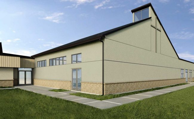 Exterior rendering as part of Mosaic Associates' Feasibility Study and Master Plan for Bethlehem Lutheran Church.