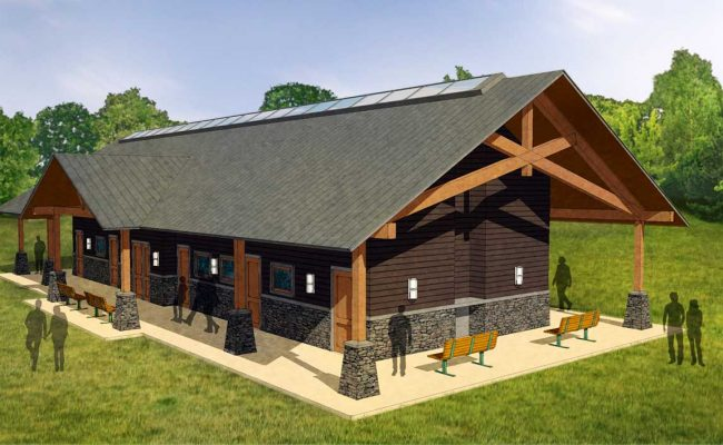 Final rendering of Mosaic Associates architectural design for the Taconic State Park showerhouse.