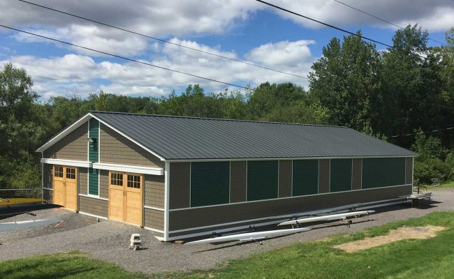Mosaic's plan for the Skidmore College rowing facility includes the addition of a team training facility and a sculling pavilion.
