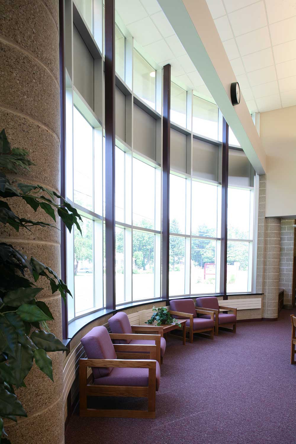 The Burnt Hills-Ballston Lake school design includes a vestibule with a glass curtain wall.