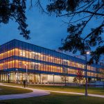 Night view of Mosaic Associates College Science Center design for Hudson valley Community College in Troy, New York.