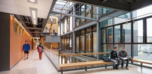 Interior of Mosaic Associates College Science Center design for Hudson valley Community College in Troy, New York.