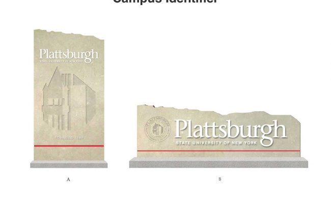 Entry signage design: Mosaic developed new signage standards for the entire SUNY Plattsburgh campus sign system from monumental entrance signs to classrooms.