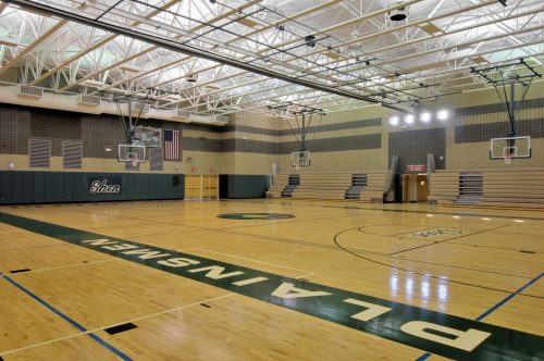 Shenendehowa Central School District basketball gymnasium in Clifton Park, New York, designed by Mosaic Associates Architects for