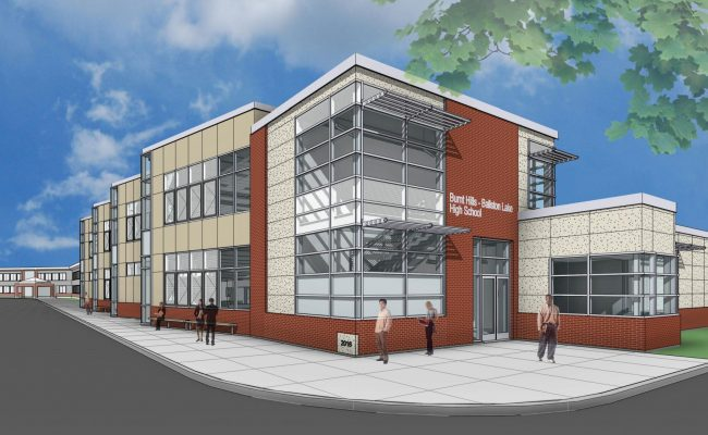 Artist rendering of BH-BL STEAM addition, southwest corner view of Mosaic Associates' school design for BH-BL CSD