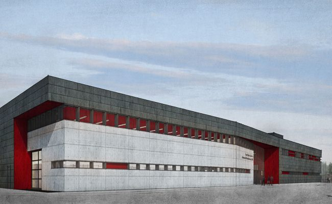 Mosaic Associates architectural design rendering for the Gene Haas Center for Advanced Manufacturing Skills at Hudson Valley Community College, southwest exterior.
