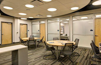 Educational conference and work space in a collegiate building designed by Mosaic Associates Architects