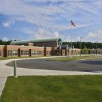 Front entrance view of the Shatekon Elementary School design by Mosaic Associates Architects.