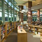 Library and Media Center featured in the Shatekon Elementary School design by Mosaic Associates Architects.